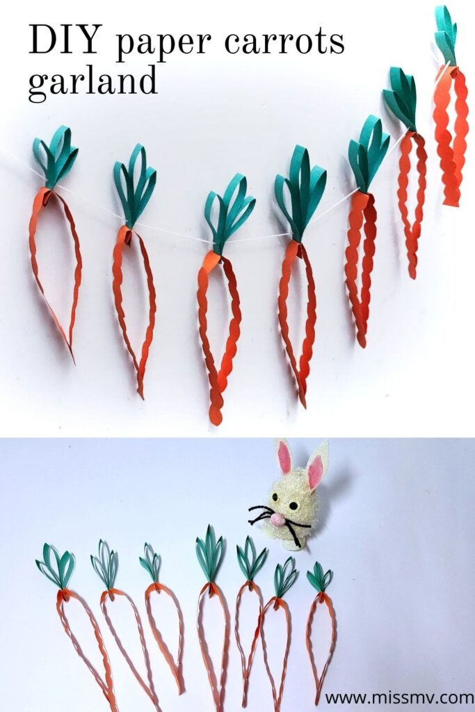 DIY paper carrots garland Easter craft