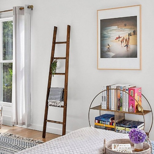 Decorative farmhouse Rustic ladder for blankets