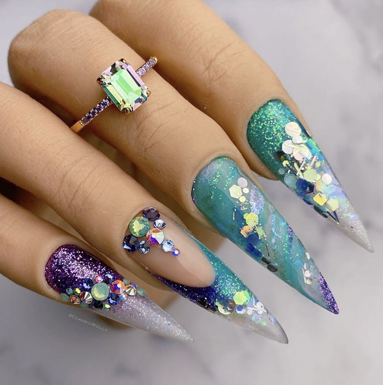 Eclectic winter nails with gem stones
