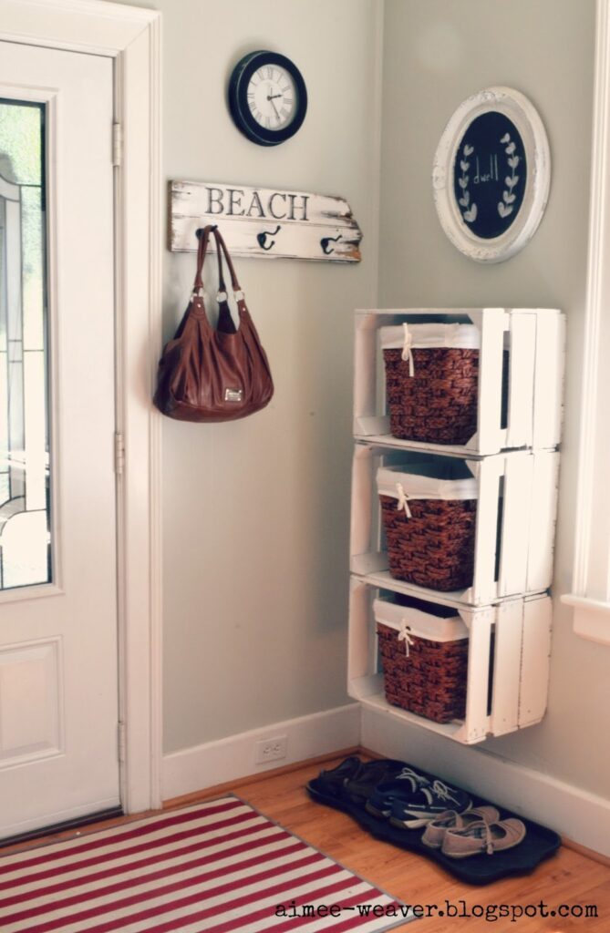Entry way storage unit made from wooden crate