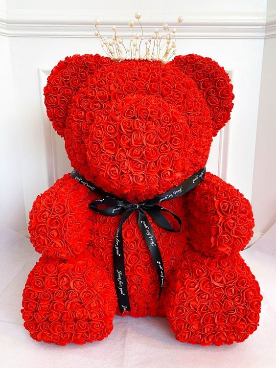 Extra large Rose Teddy Bear from artificial flowers. Luxury gifts for her. Christmas luxury gifts for her.