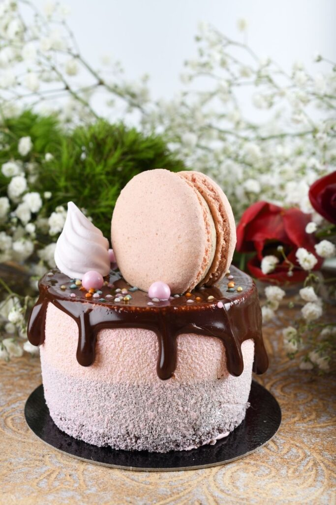 Fancy aired cake for Valentines Day topped with chocolate and a large macaroon