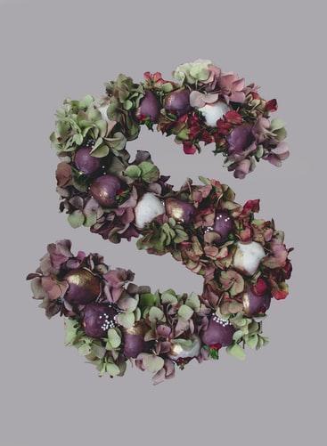 Flowers letter arrangement aesthetic background