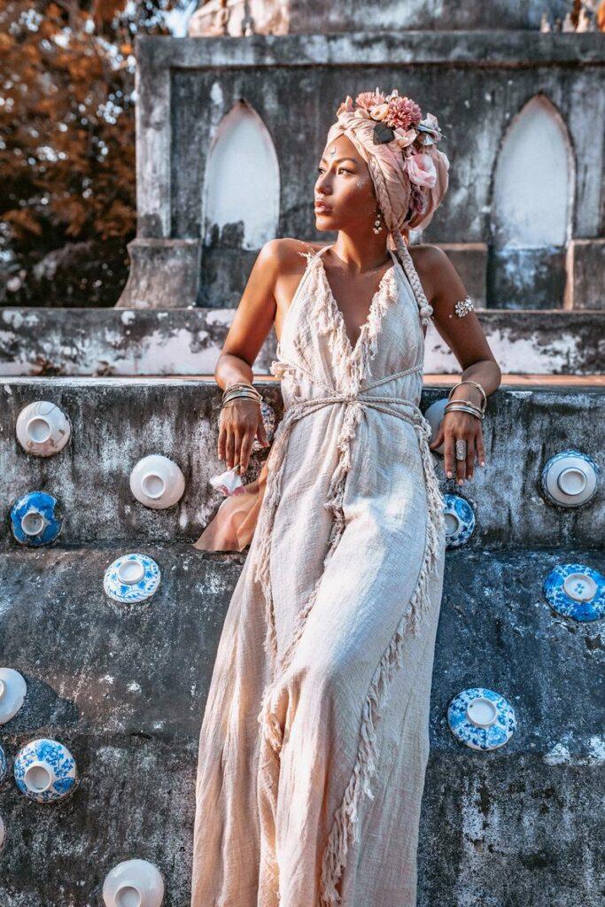 Fringe raw cotton Goddess Dress