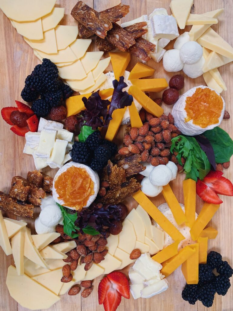 Fruits and cheese Christmas charcuterie board