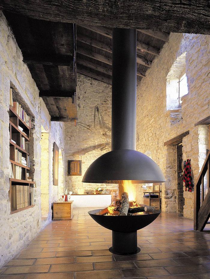 Futuristic log cabin with fireplace