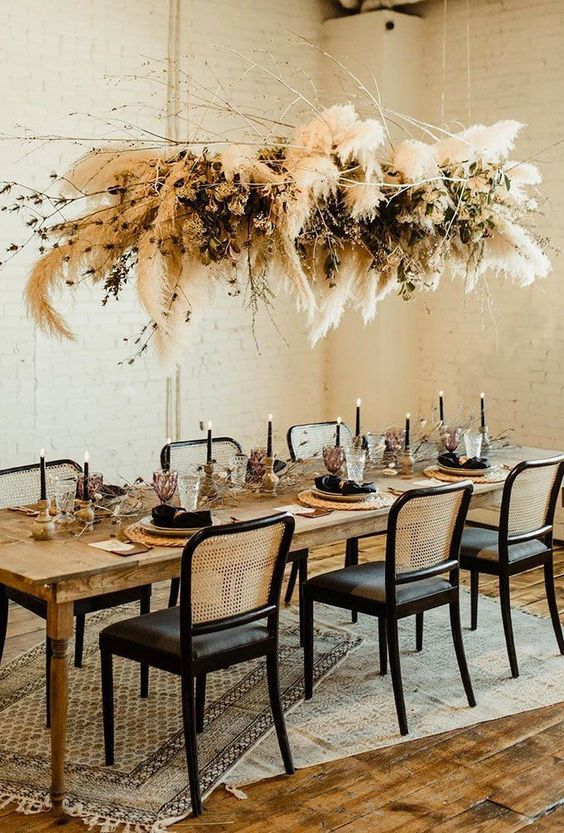 Giant pampas grass lampshade decoration in the dining room