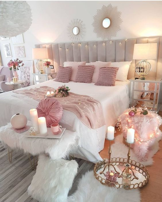 Glamorous pink bedroom decor inspiration perfect for anyone who wants to feel like a princess