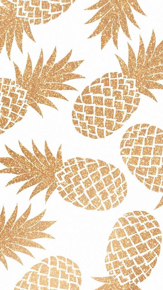 Gold pineapple wallpaper background