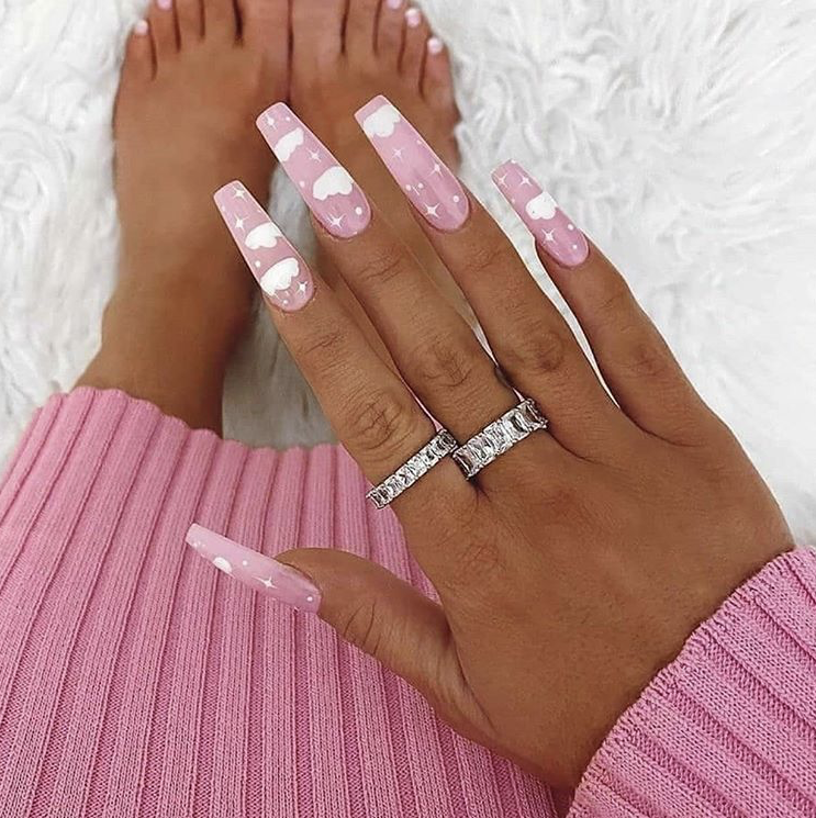 Gorgeous long pink nails