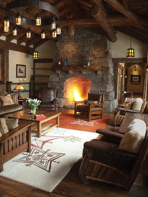Grab a cup of tea and gather around this lovely stone fireplace