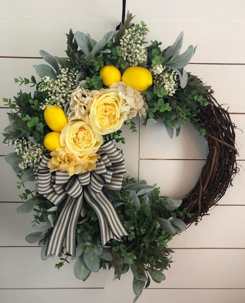 Grapevine and lemon farmhouse wreath