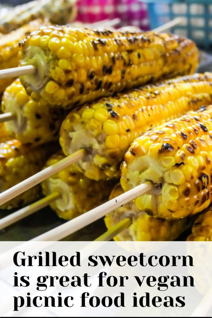 Grilled sweetcorn is great for vegan picnic food ideas