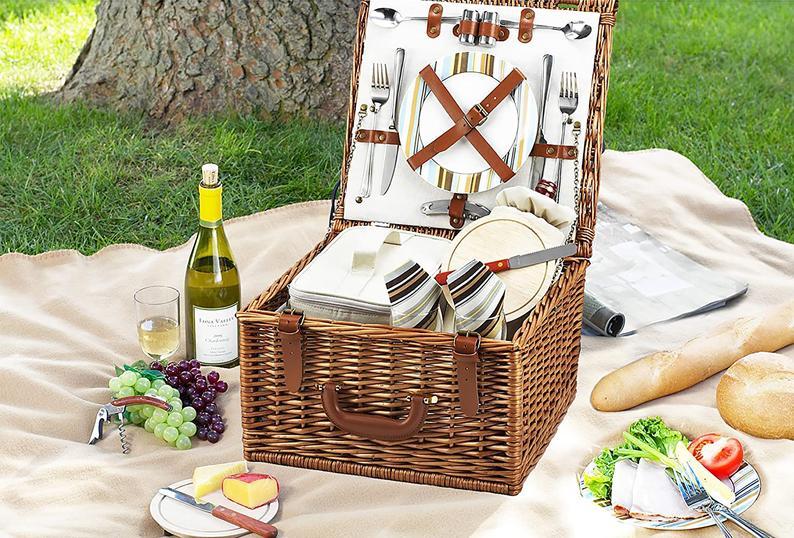 Handmade Reed Willow Woven Picnic Basket Set