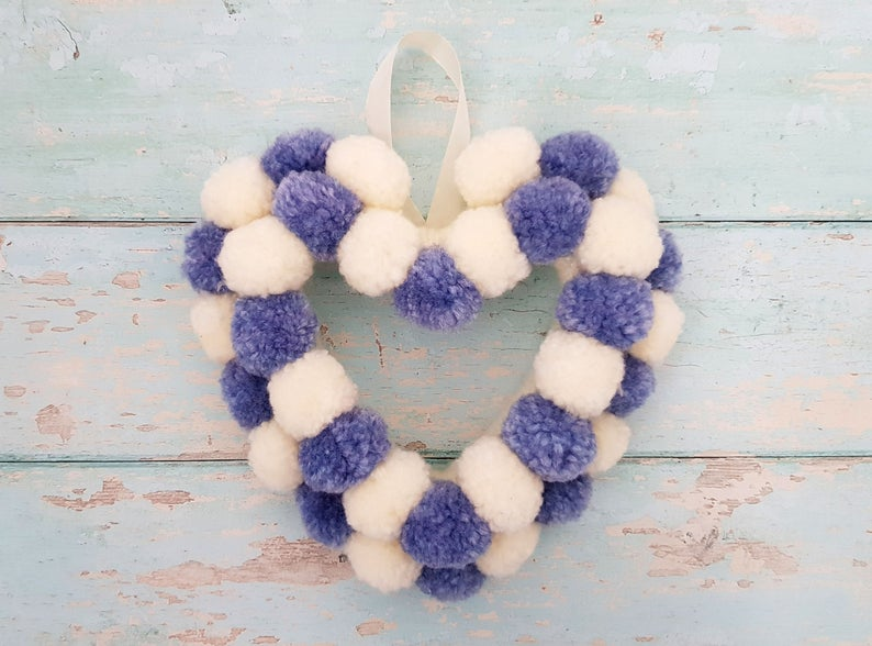 Heart shape pom pom wreath
