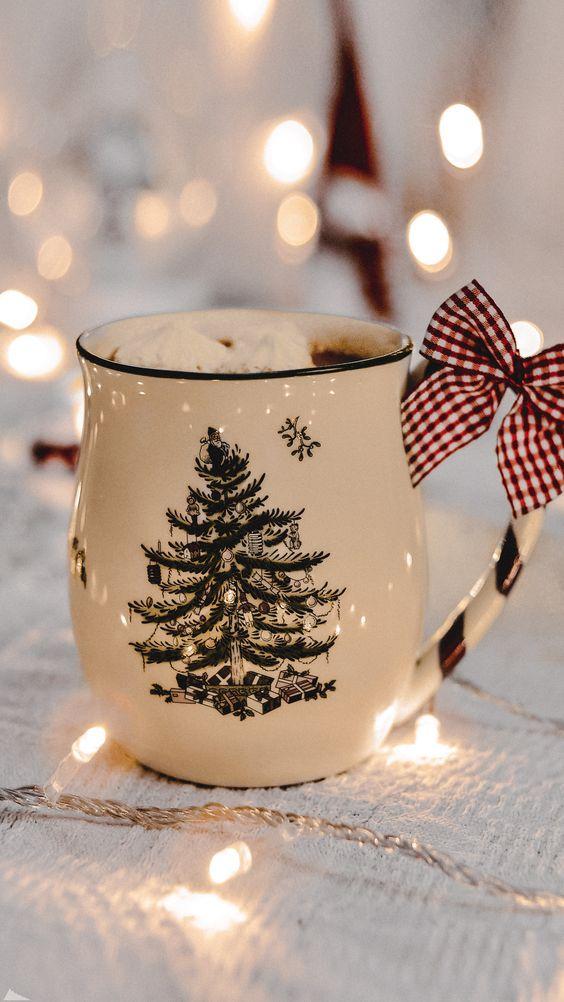 Hot chocolate Christmas mug aesthetic image