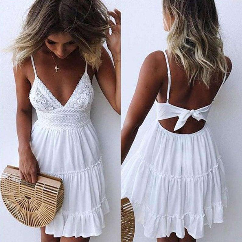 Lace Front Short Beach Dress