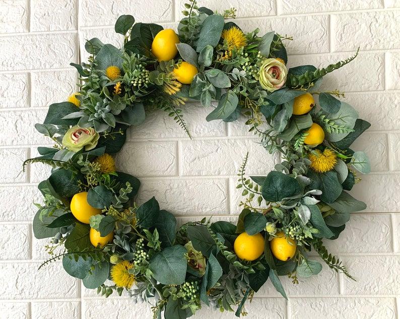 Lemons Citrus floral wreath