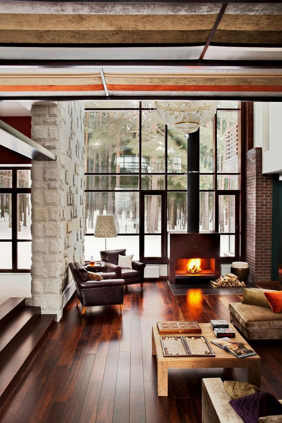 Luxury cabin with fireplace and lake view