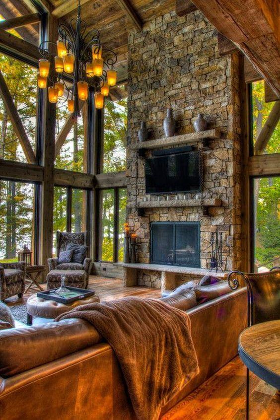 Majestic fireplace log cabin decor