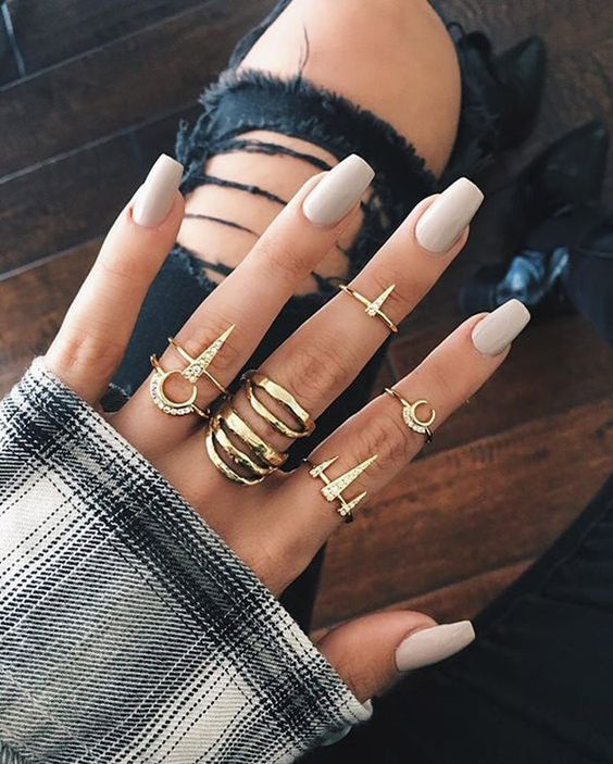 Medium length nude nails