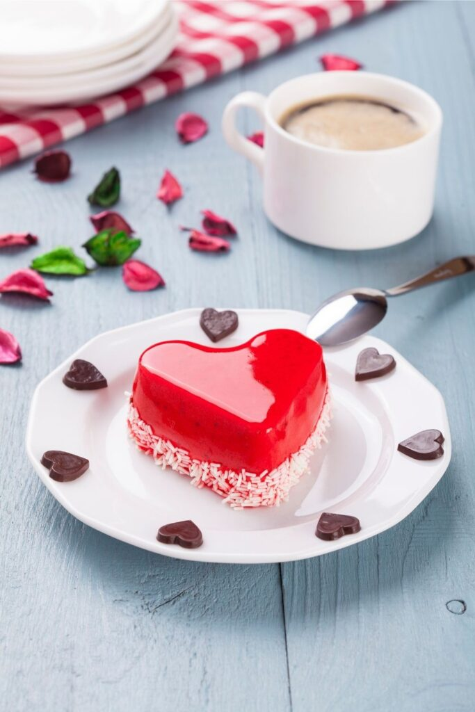 Mini jelly heart cake decorating for Valentines Day  that goes well with coffee and tea