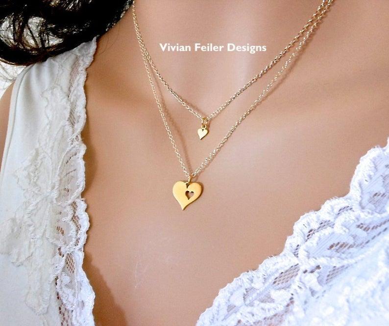 Mother Daughter Necklace Set 24K Gold