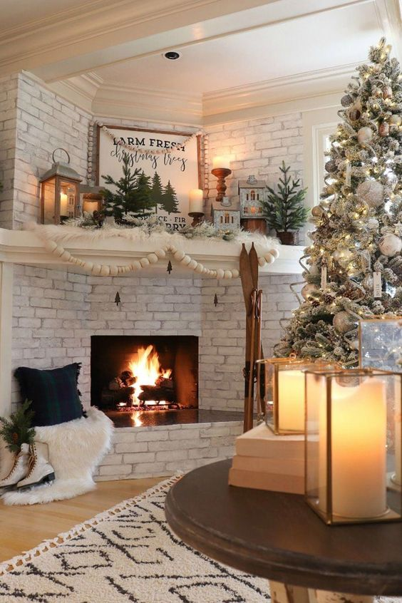 Mountain cabin with fireplace and Christmas decorations