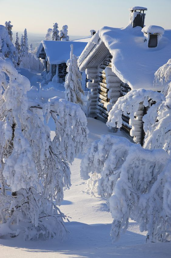 Mountain log cabin Christmas wallpaper