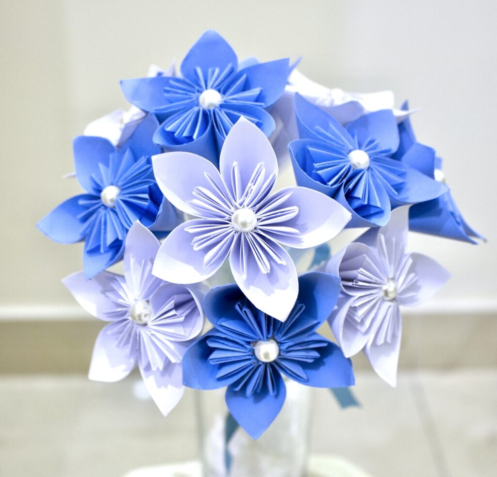 Origami paper flower bouquet for Mother's day