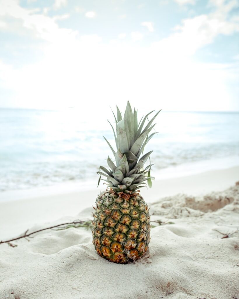 Pineapple on sand beach summer wallpaper background