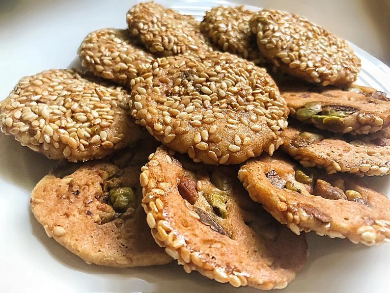 Pistachio Sesame Seed Biscotti Cookies- homemade arabic dessert