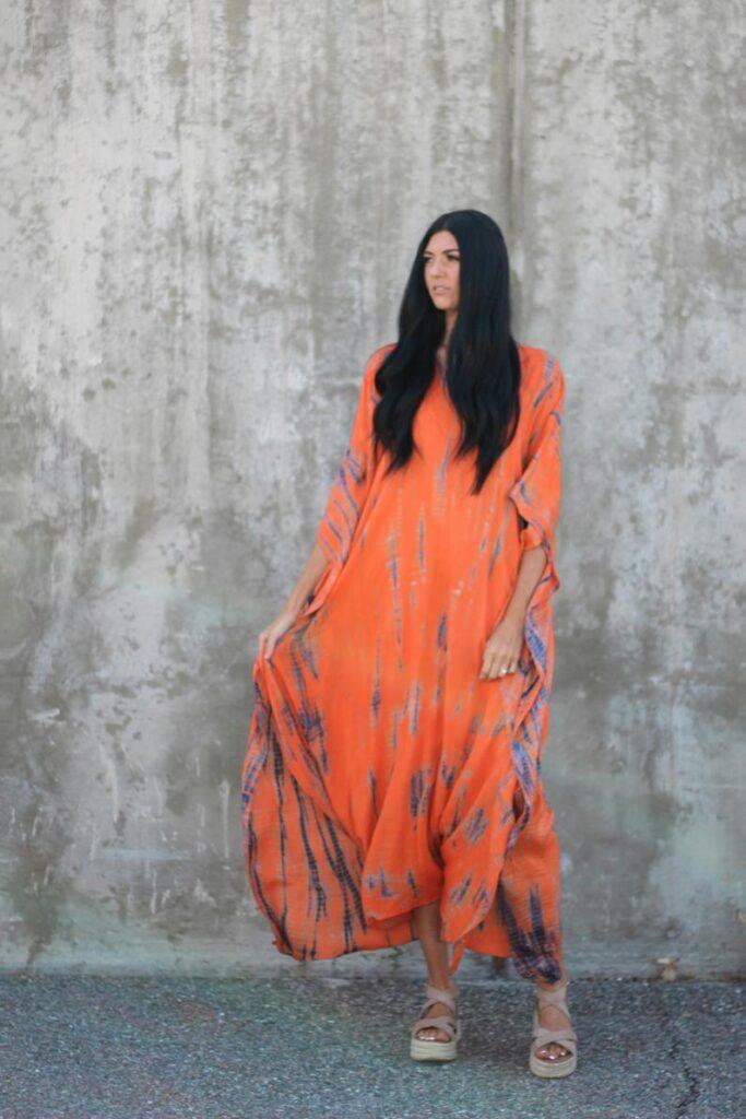 Plus size orange beach maxi dress