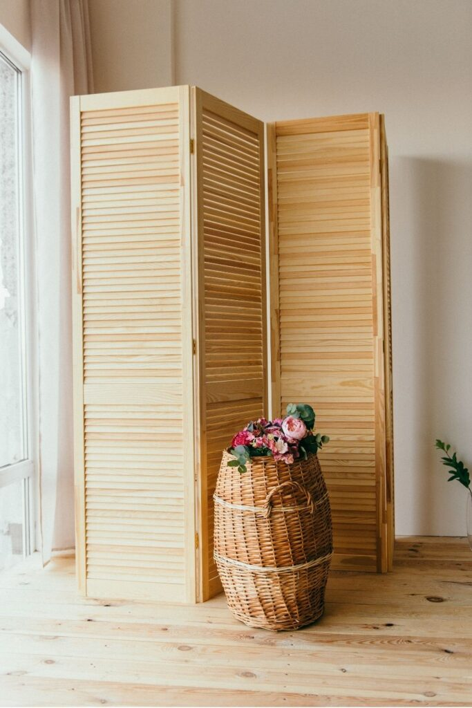 Rattan room divider for adding privacy when laying near pool