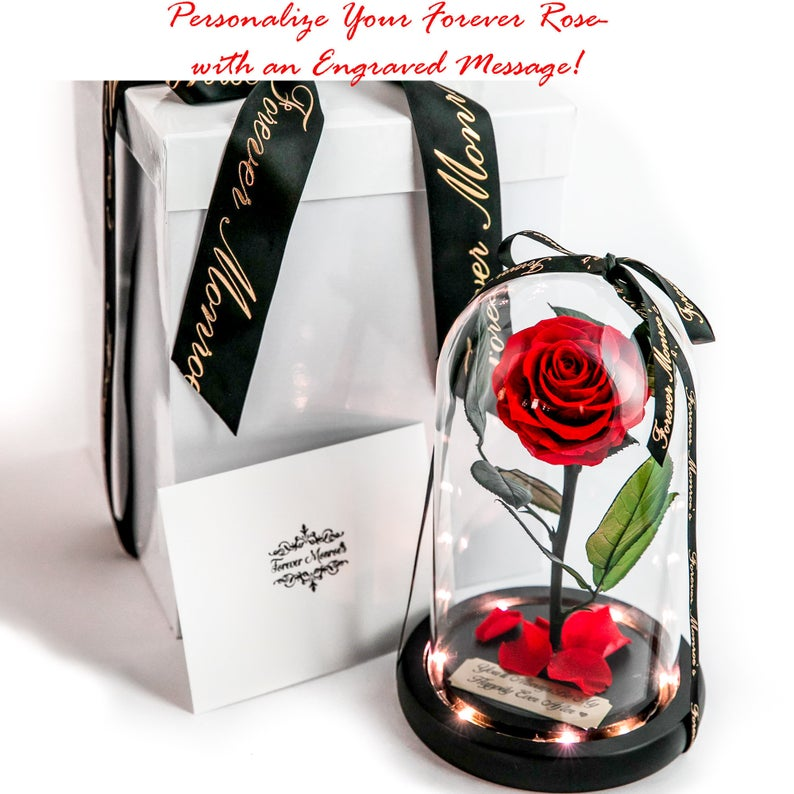Real Preserved Red Rose in Glass Dome with LED lights