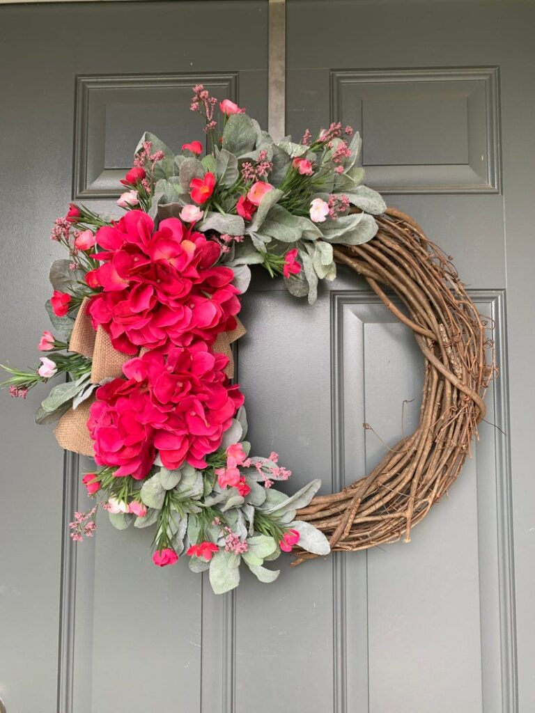 Red hydrangea summer wreath