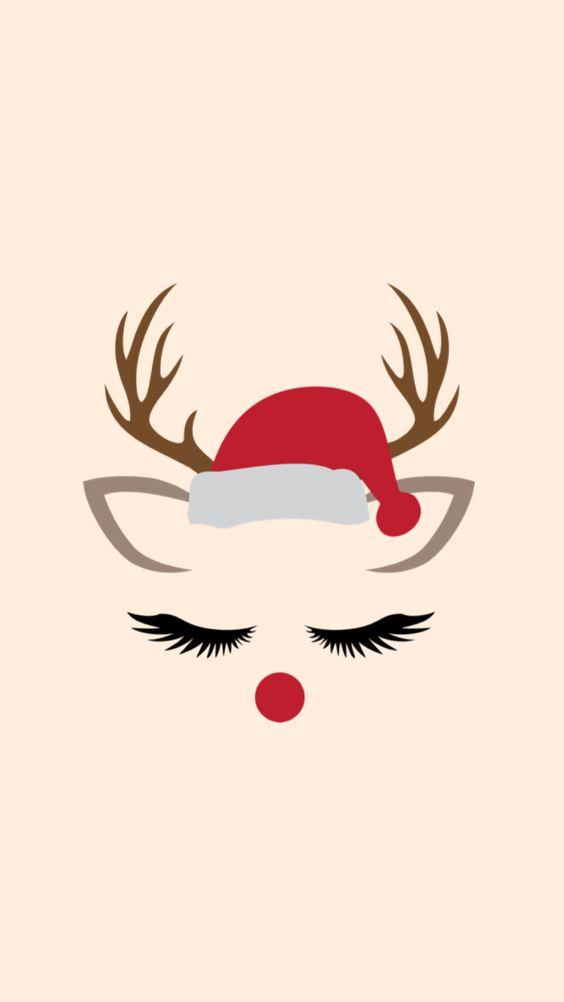 Reindeer eyelashes Christmas wallpaper
