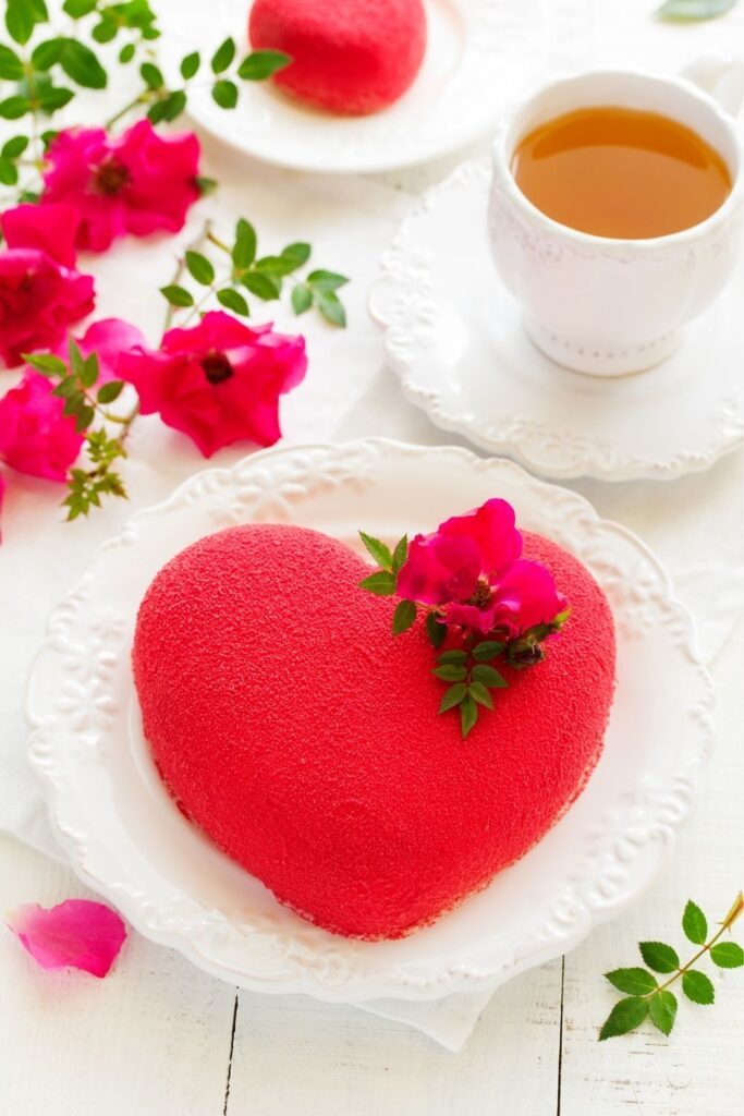Romantic red heart shape cake for Valentines Day