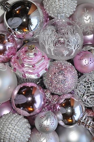 Rose and silver globe Christmas decoration wallpaper