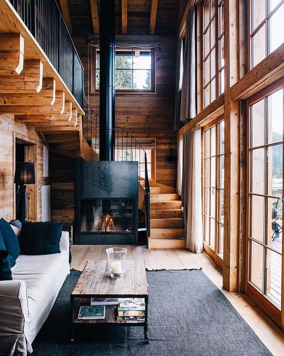 Rustic mountain wood cabin with fireplace