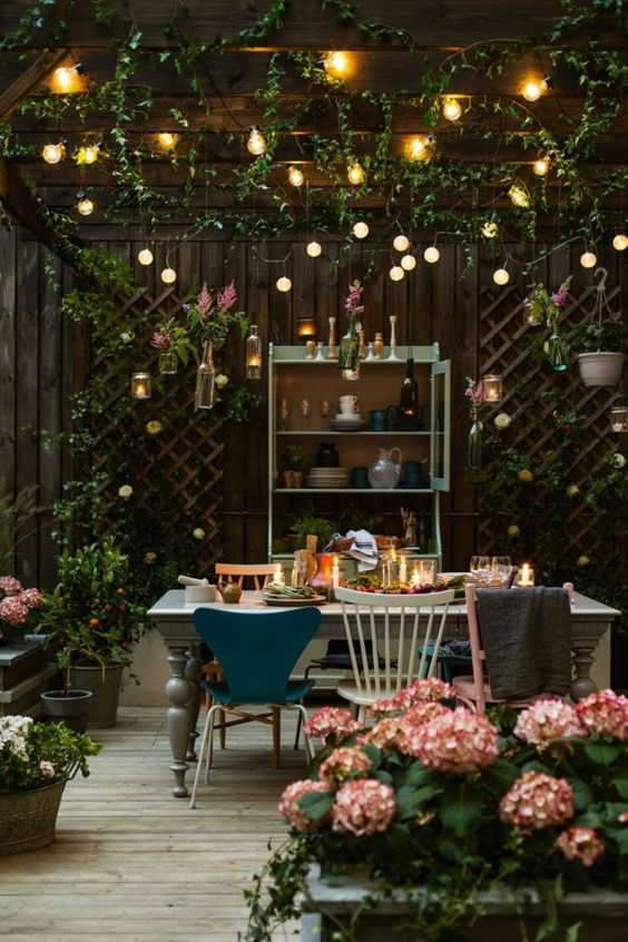 Rustic outdoor living space with lights