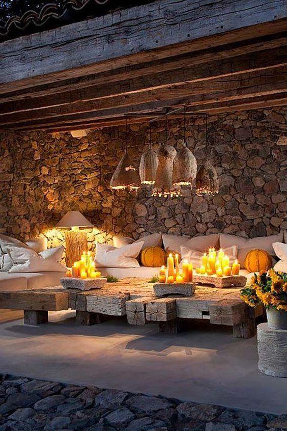 Rustic outdoor living space