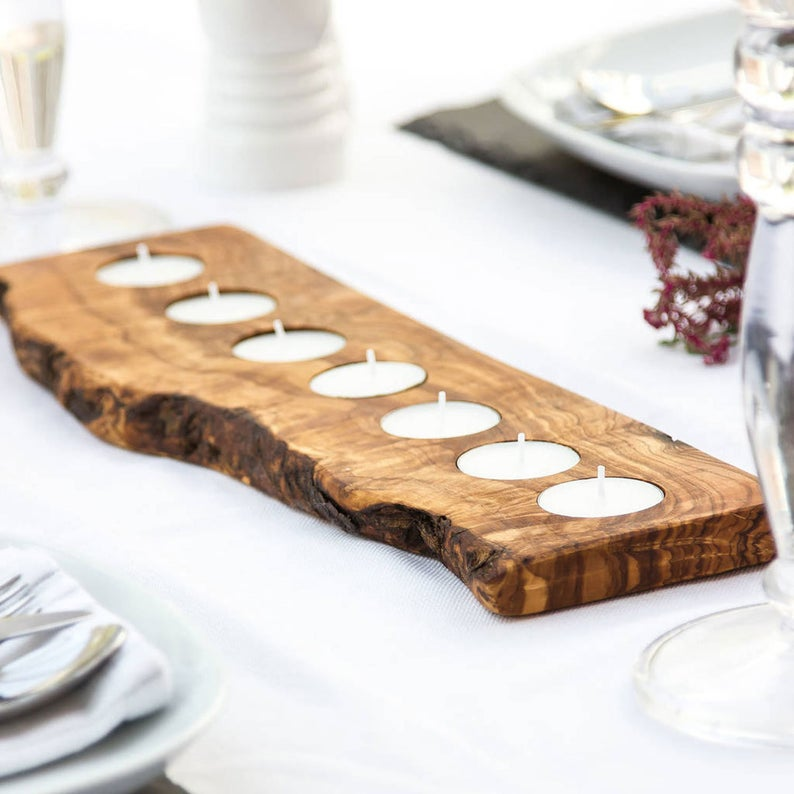 Rustic tealight candle holder for dining table