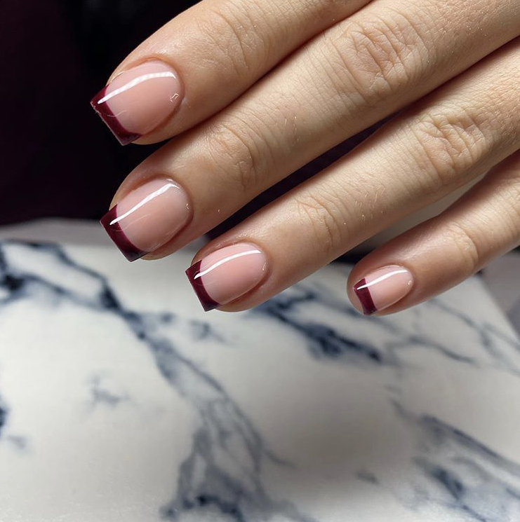 Short length French manicure