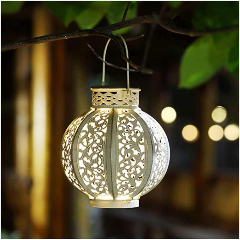 Solar powered lantern for porch decor