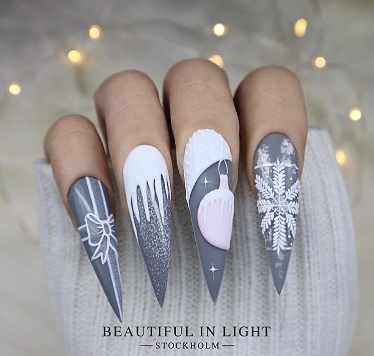Stiletto Winter Nails Acrylic design