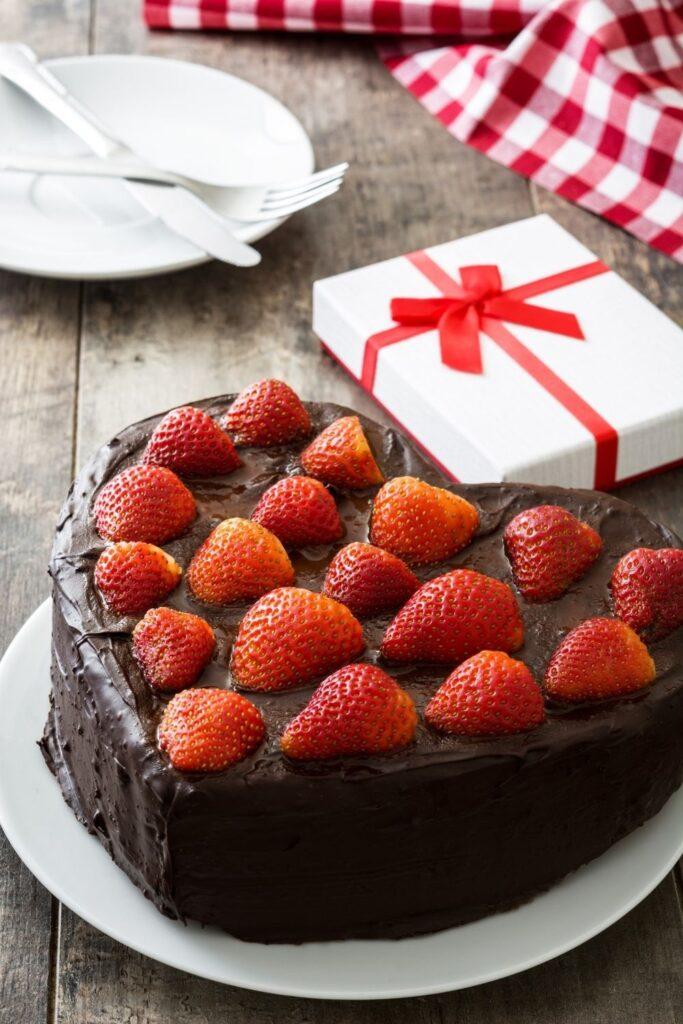 Strawberries & chocolate heart shape cake decorating