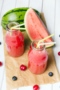 Summer smoothies. Watermelon Cherry with Apple summer smoothie. summer watermelon & oranges smoothie