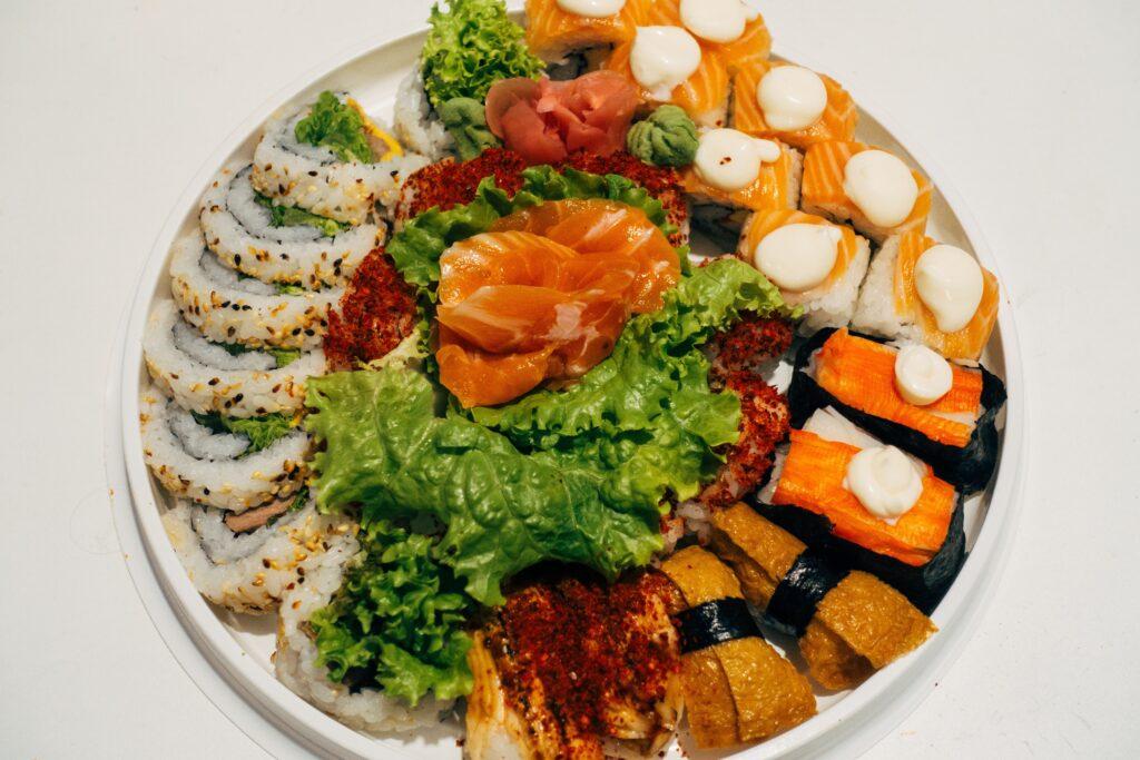Sushi Christmas charcuterie board idea