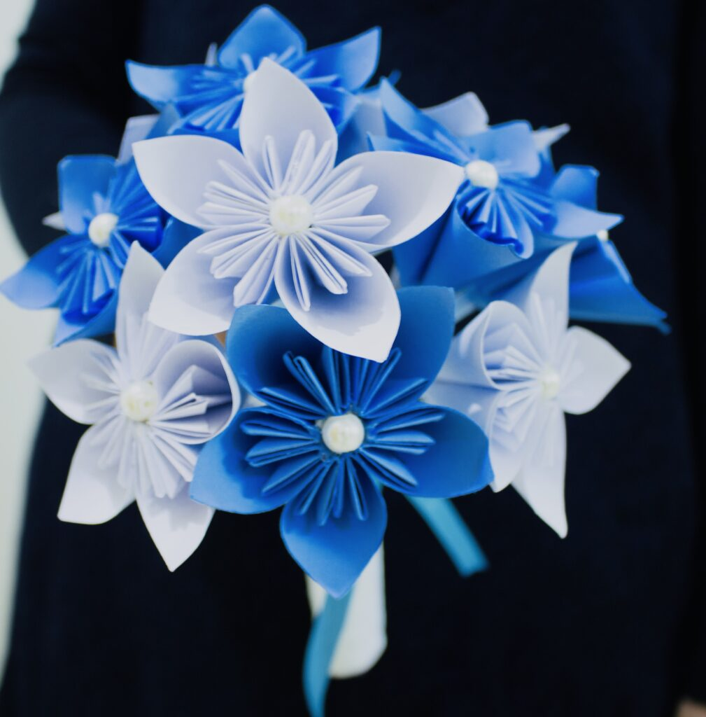 The end result of paper flower bouquet tutorial